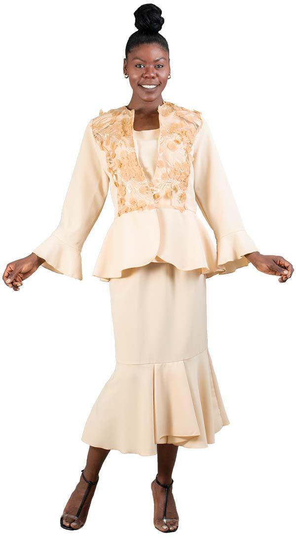 3k-Fashion-B1274-Beige - Floral Trim Ruffle Hem 3pc Skirt Set