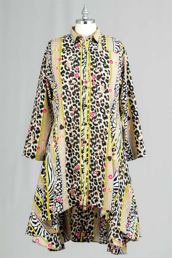 AA20-666A-4 - Womens Button Front Multi Print Swing Tunic Top