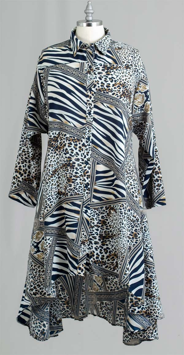 AA20-666ANB - Womens Button Front Multi Print Swing Tunic Top