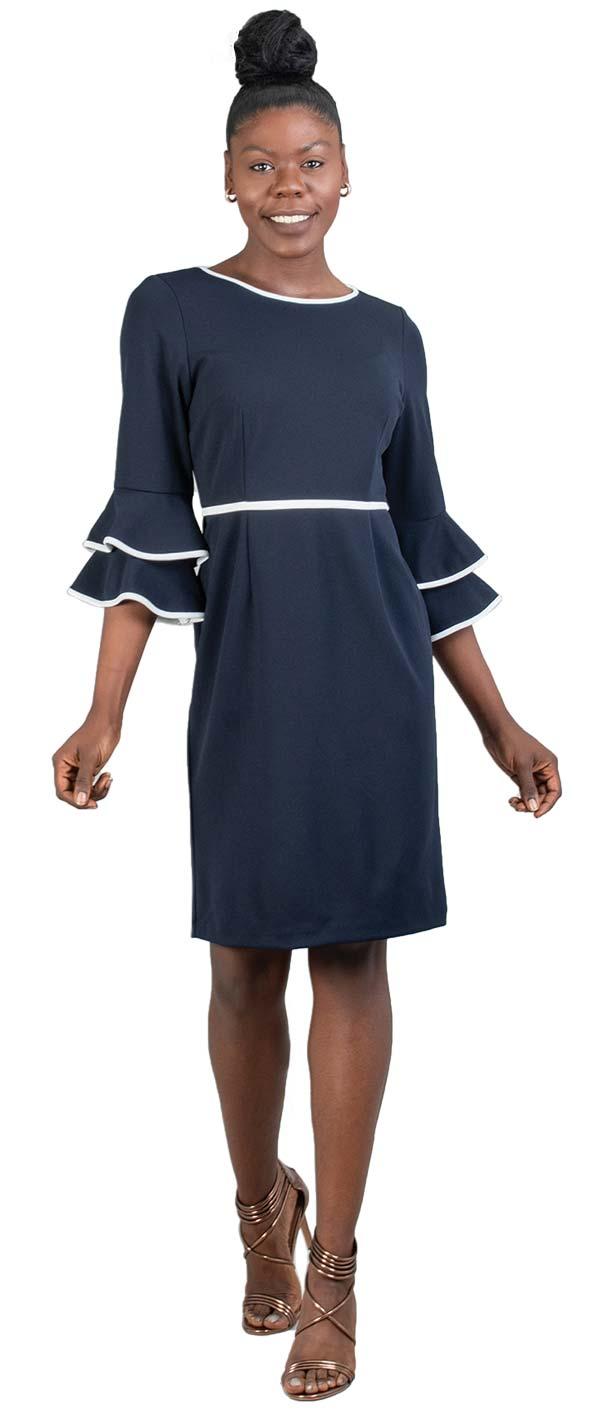 Allen-Kay-785740B Womens Double Bell Cuff Sleeve Dress