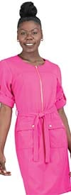 Allen-Kay-785744F-Pink Roll Sleeve Zipper Front Belted Dress