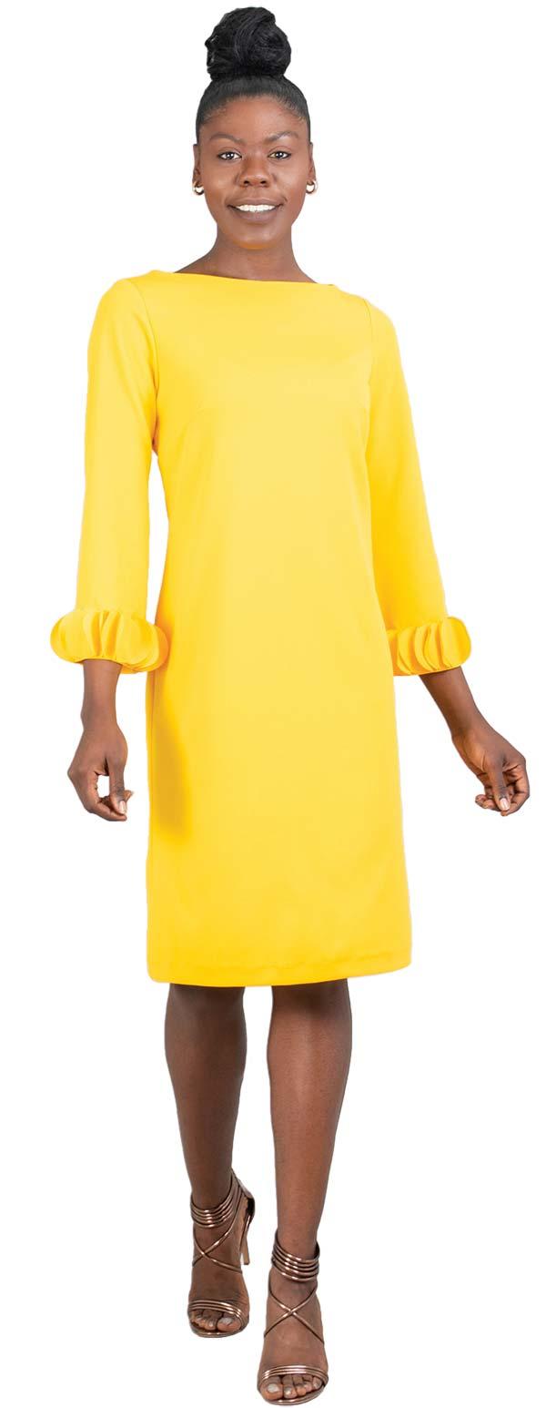 Allen-Kay-785805-Lemon Long Sleeve Petal Cuff Dress