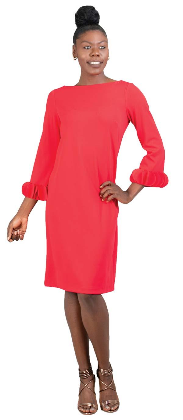 Allen-Kay-785805-Red Long Sleeve Petal Cuff Dress