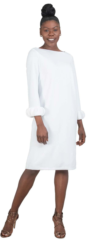 Allen-Kay-785805-White Long Sleeve Petal Cuff Dress