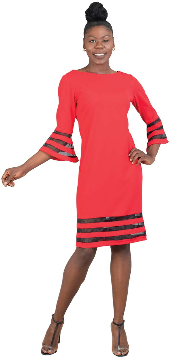 Allen-Kay-785841-Red Illusion Stripe Bell Sleeve and Hem Knit Dress