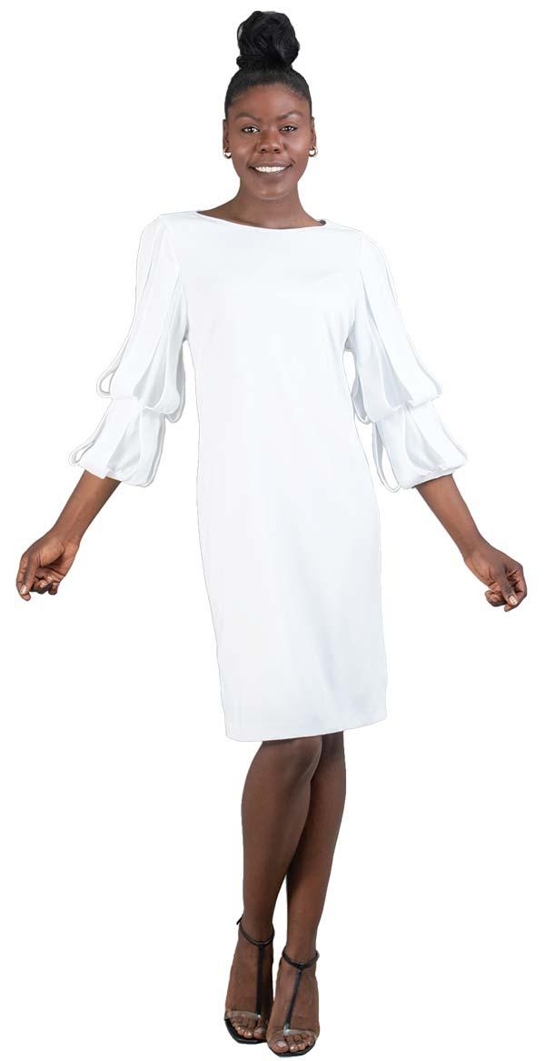 Allen-Kay-785845-White Double Tier Sleeve Knit Dress