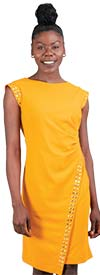 Allen-Kay-785847-Mustard Side Gathered Stud Trim Knit Dress