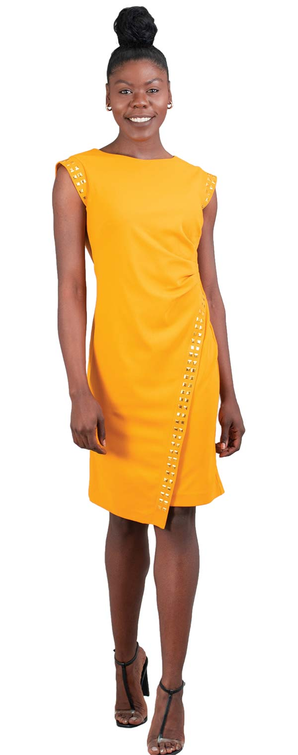 Allen-Kay-785847-Mustard Side Gathered Stud Trim Knit Dress