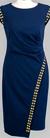 Allen-Kay-785847-Navy Side Gathered Stud Trim Knit Dress