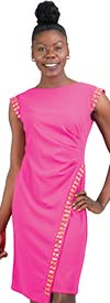 Allen-Kay-785847-Pink Side Gathered Stud Trim Knit Dress