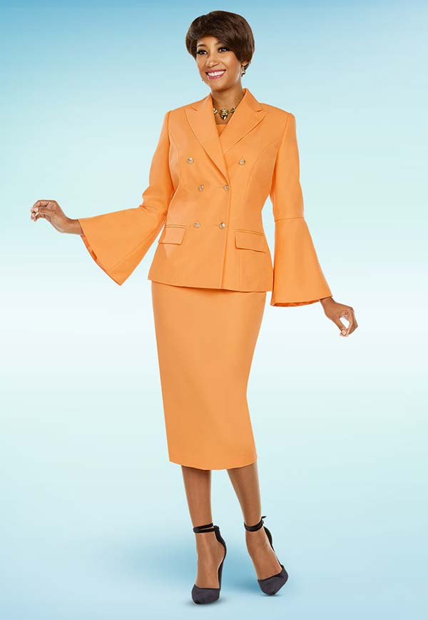 Ben Marc Executive 11761 Double Breasted Skirt Suit With Peak Lapels & Bell Sleeves