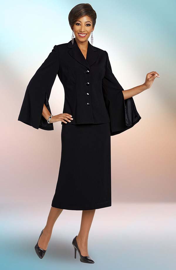 Ben Marc Executive 11809 Skirt Suit Including Notch Lapel Jacket With Split Cape Sleeve Design