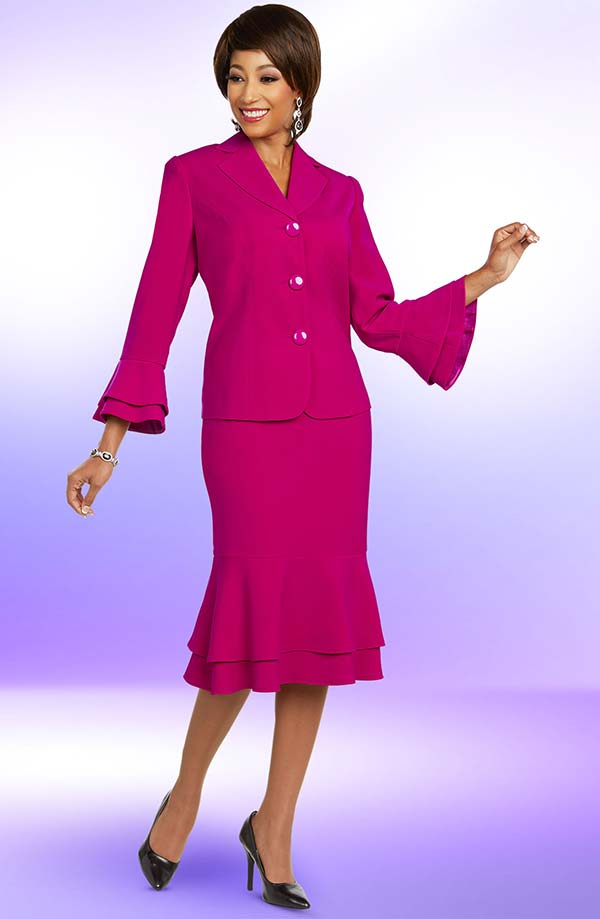 Ben Marc Executive 11810 Career Womens Suit With Layered Bell Cuff Sleeve Jacket & Double Flounce Hem Skirt