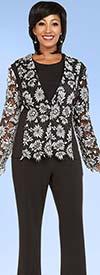 Ben Marc Casual Elegance 18342 Womens Pant Suit With Floral Applique Top