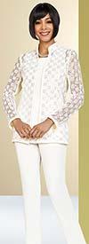 Ben Marc Casual Elegance 18367 Ladies Pant Suit With Multi Square Pattern Design Jacket