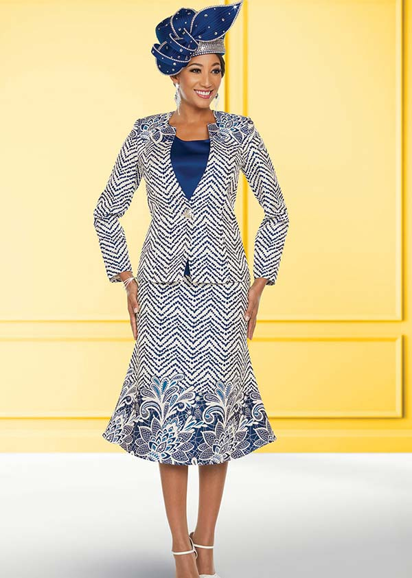 Ben Marc 48218 Floral & Chevron Pattern Flared Skirt Suit