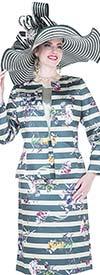 Champagne 5122 Twill Satin Stripe & Flower Printed Skirt Suit