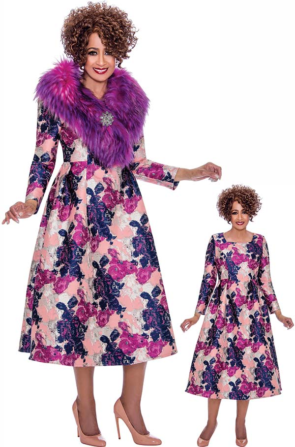 DCC - DCC2212 Long Sleeve Dress In Floral Pattern & Removable Fur Collar