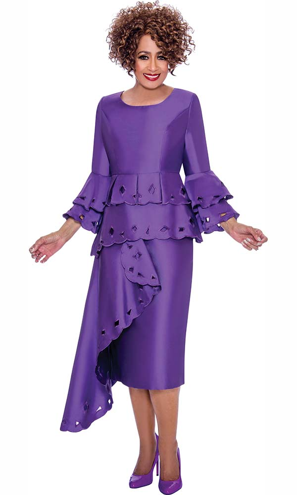 DCC - DCC2311 Dress With Double Layer Cut-Out Trim Design And Half Duster Peplum Design