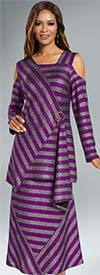Donna 18144 Novelty Knitted Metallic Stripe Tunic & Skirt Set