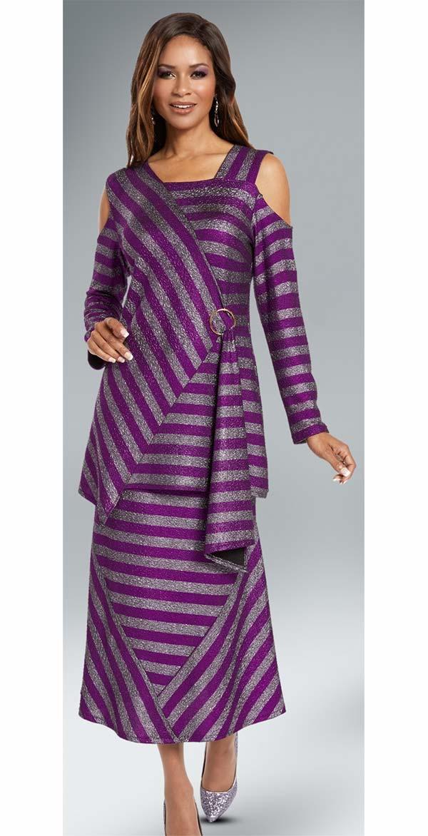 Donna 18144 Novelty Knitted Metallic Stripe Tunic & Skirt Set