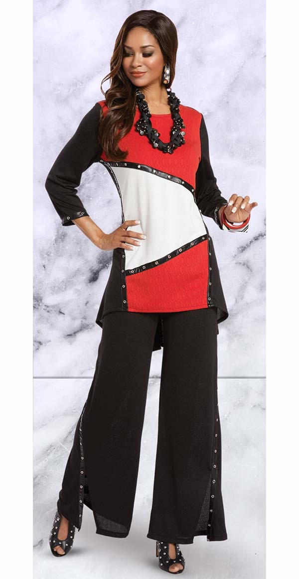 Donna 18150 Novelty Knit Fabric Tunic & Pant Suit Trimmed With Leatherette & Grommets