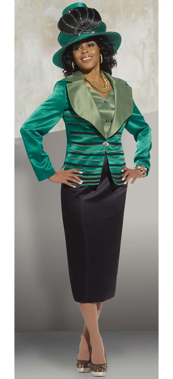 Donna Vinci 5431 Skirt Suit With Multi Stripe Wide Notch Lapel Jacket