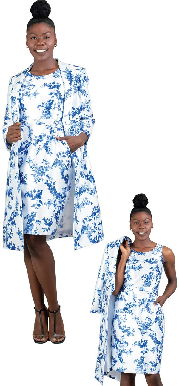 John-Meyer-778M305 Floral Print Duster Jacket & Dress Set