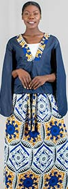 Kara Chic 9040-BlueWhiteGold - Womens African Print Skirt Suit With Denim Capelet