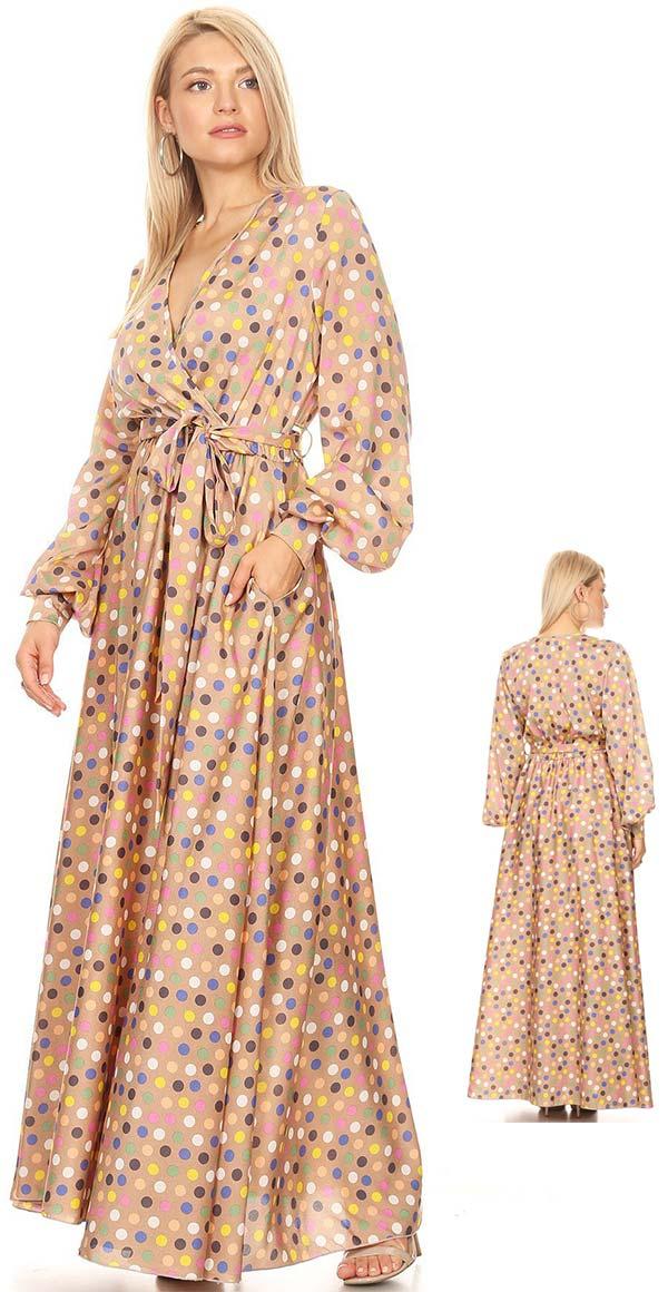 KarenT-5056D - Multi Color Polka Dot Print Long Sleeve Maxi Dress With Sash