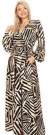 KarenT-5056P - Multi Stripe Print Long Sleeve Maxi Dress With Sash