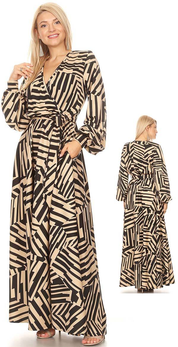 KarenT-5056P - Multi Stripe Print Long Sleeve Maxi Dress With Sash
