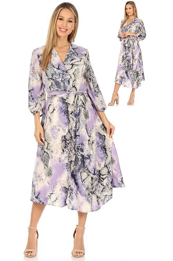 KarenT-9016D-Blue - Womens Printed Midi Dress With Sash