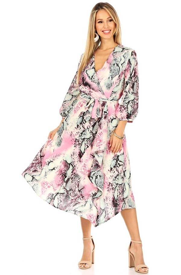 KarenT-9016D-Pink - Womens Printed Midi Dress With Sash