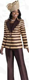 Lily and Taylor 3758-GoldBrown - Three Piece Silky Twill Pant Suit