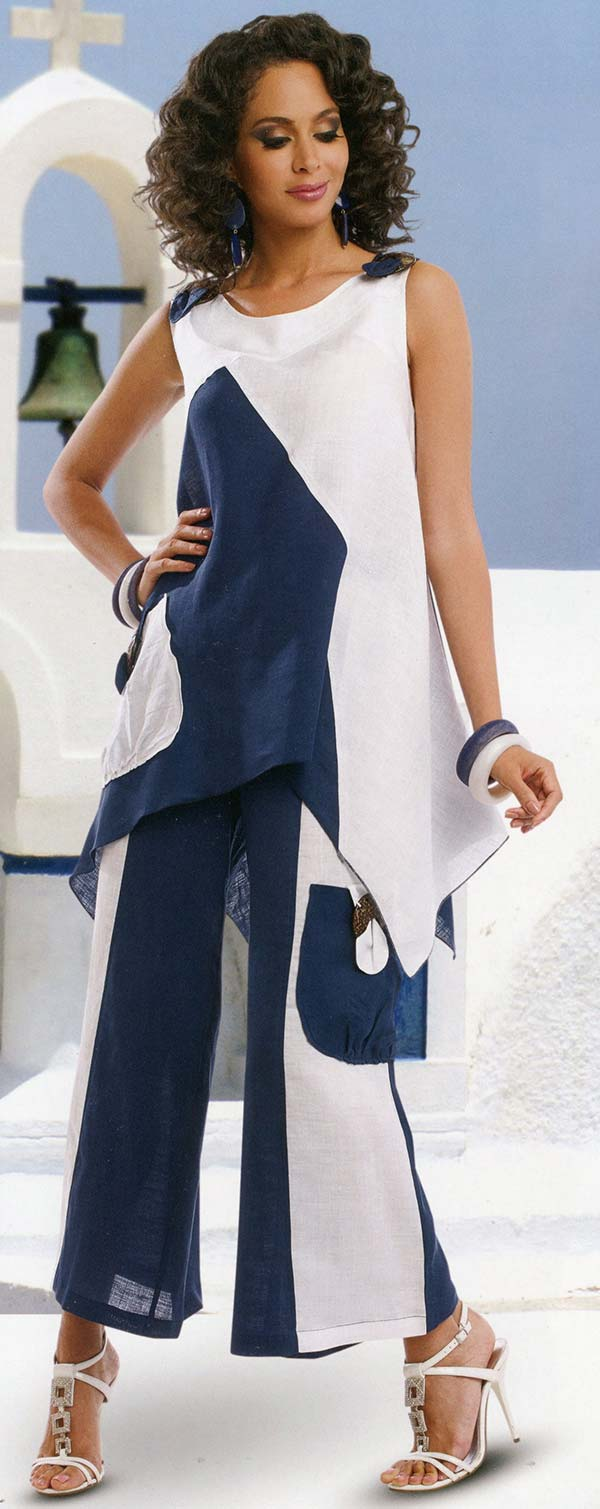 Lisa Rene 3311 - Womens Linen Tunic & Pant Set With Wood Look Trims