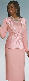 Lisa Rene 3263 Three Piece Church Suit With Pleated Floral Applique Jacket