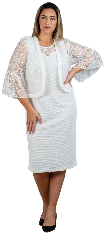 Maya-Brooke-27585 Two Piece Lace Bell Sleeve Jacket & Dress