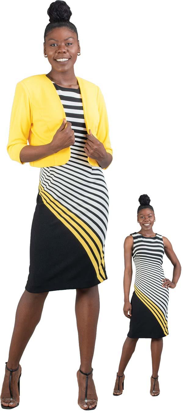 Maya-Brooke-28072 Two Piece Stripe Print Dress With Bolero Style Jacket