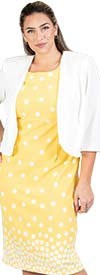 Maya-Brooke-29103-YellowWhite - Polka Dot 2pc Jacket Dress