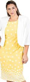 Maya-Brooke-29103-YellowWhite - Polka Dot 2pc Jacket Dress