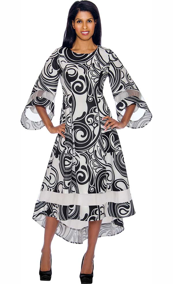 Nubiano Dresses DN2971 - Printed Dress With Wide Bell Sleeves