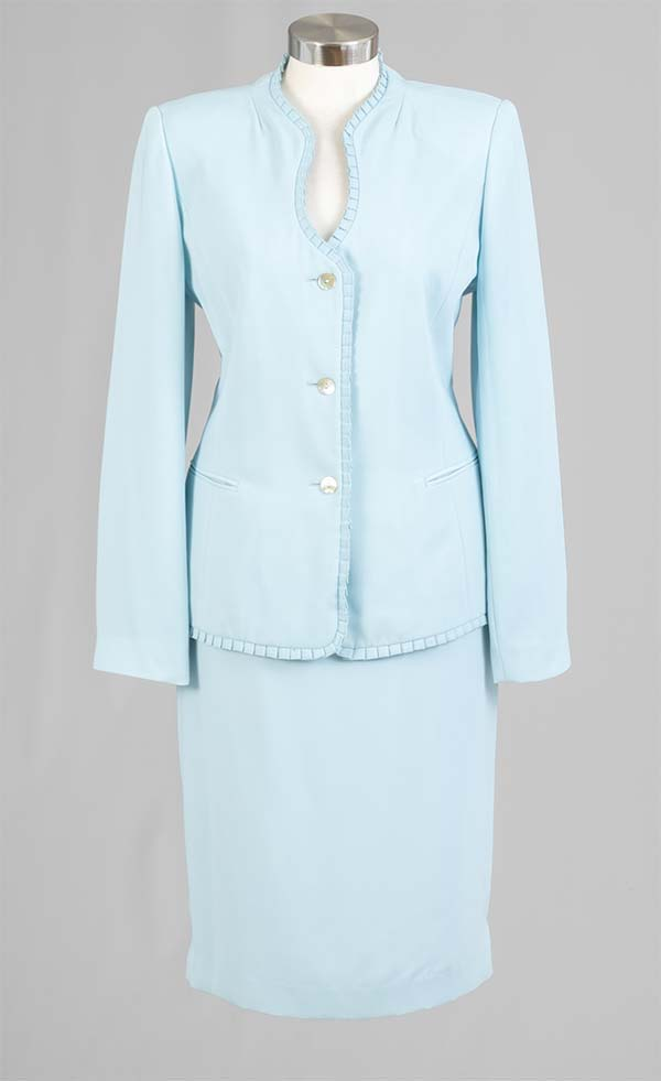 Rafael-90514 Womens Two Piece Skirt Suit With Pleated Trim Jacket