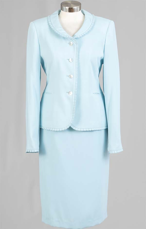 Rafael-90515 Two Piece Womens Skirt Suit With Pleated Trim Jacket