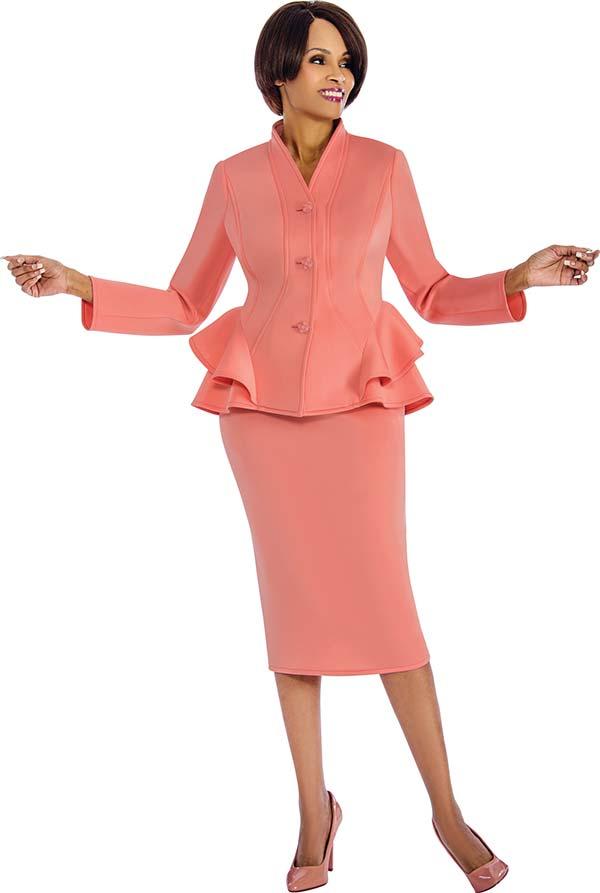 Susanna 3848 - Skirt Suit With Layered Peplum Swan Neckline Jacket