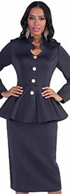 Tally Taylor 4578-Navy - Two Piece Scuba Fabric Skirt Suit With Intricate Neckline & Peplum Jacket