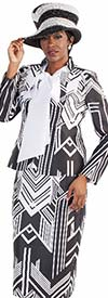 Tally Taylor 4580-BlackWhite - Three Piece Skirt Suit In Two Tone Geometric Pattern With Bow-Tie Shirt