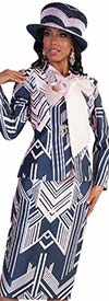 Tally Taylor 4580-Navy - Three Piece Skirt Suit In Two Tone Geometric Pattern With Bow-Tie Shirt