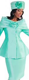 Tally Taylor 4584-Seafoam - Two Piece Skirt Suit With Off Shoulder Effect & Rose Flower Detail