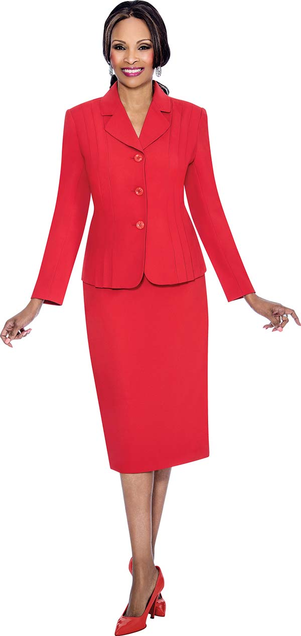 Terramina 7468-Red - Skirt Suit With Pleated Accent Notch Lapel Jacket